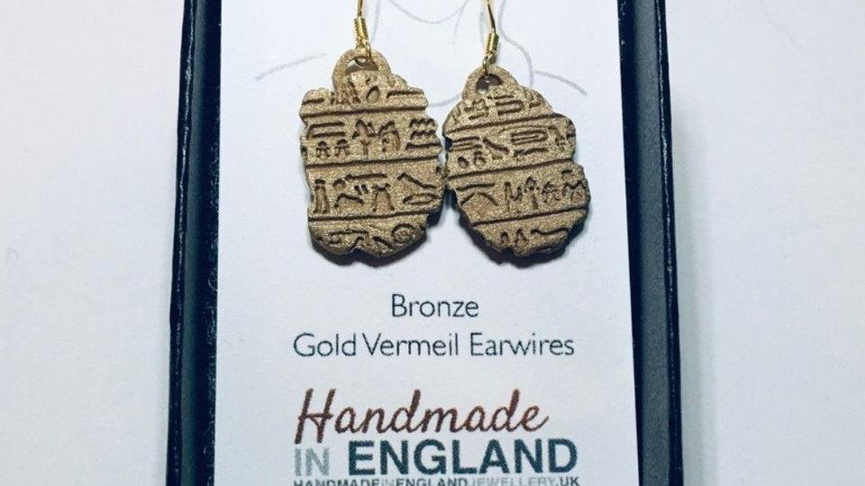 Bronze Egyptian Earrings - Gold Vermeil Earhooks