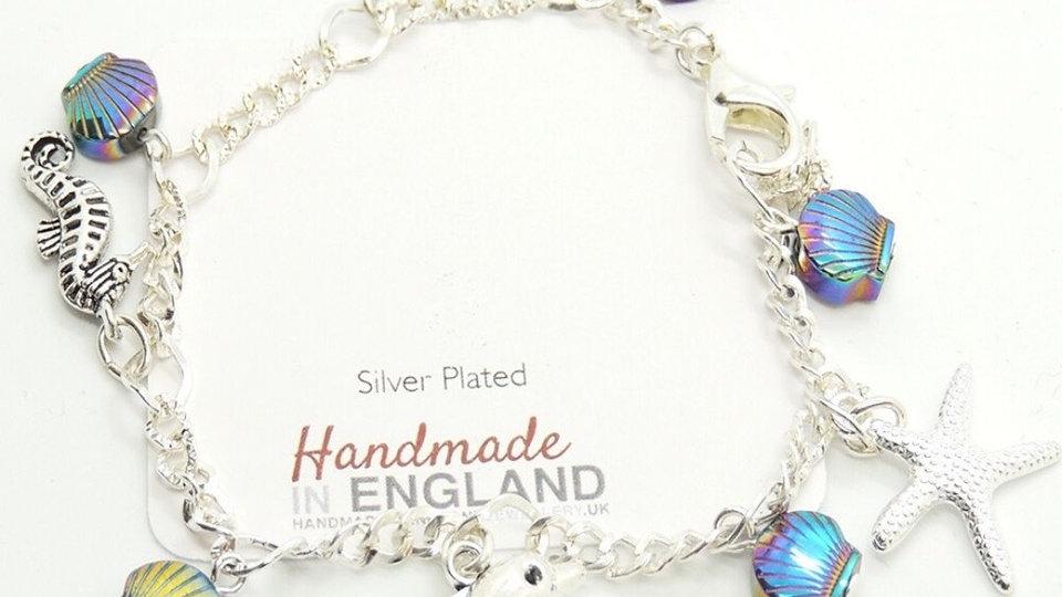Silver Plated Charm Bracelet - Sealife