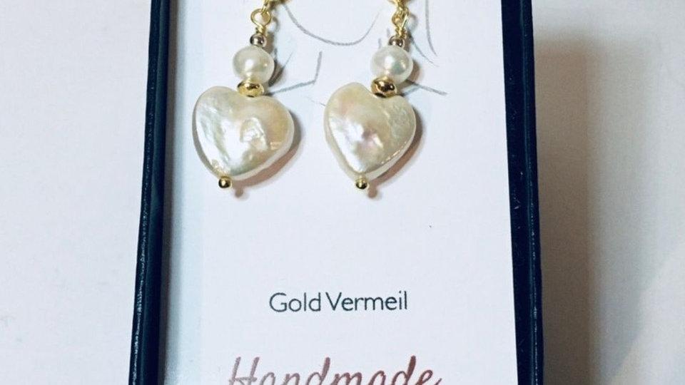 Gold Vermeil Heart Pearl Stud Drop Earrings