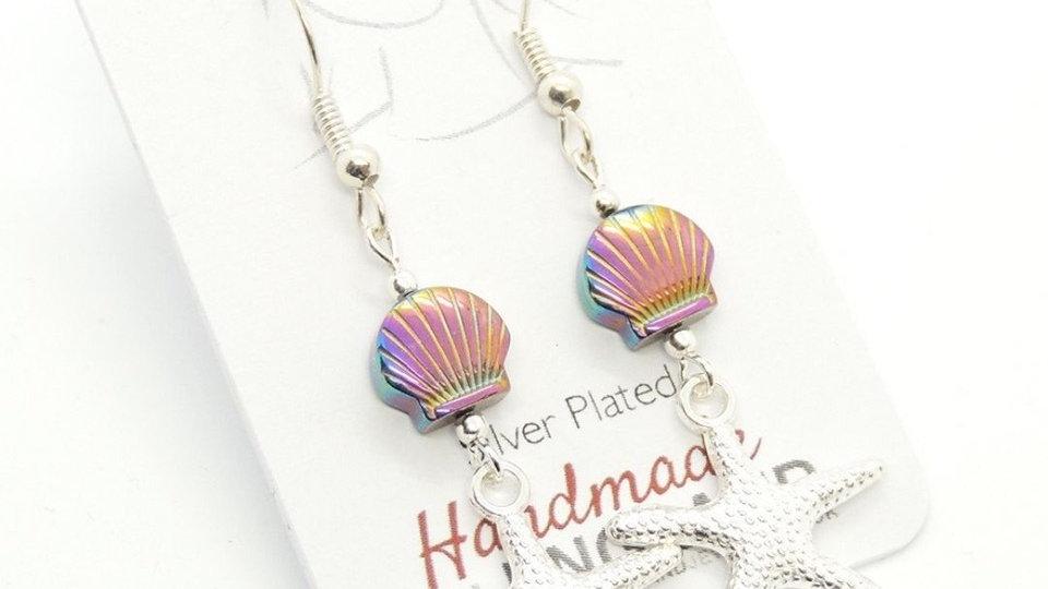 Rainbow Hematite Shell & Starfish Silver Plated Earrings