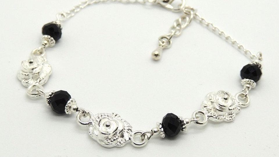 Silver Plated Rose & Black Crystal Bracelet