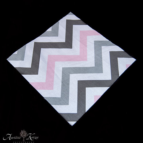 Cot Textiles - Pink and Grey Zig Zag