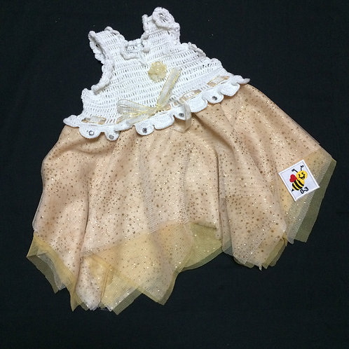 Summer Dresses - White and Gold (0-3m)