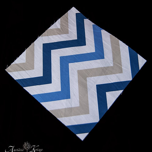 Cot Textiles - Blue and grey zig zag