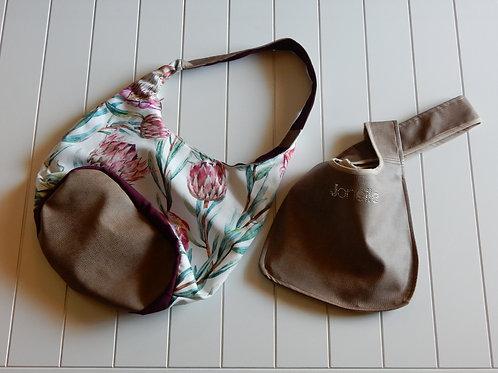 Protea & leather handbag