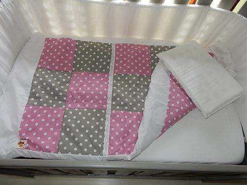 Pink and Grey polka dots