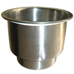 """Stainless steel cup holder with drain. dimension 4"""" x 3 1/2"""" x 4 1/4"""""""