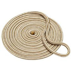 """Dock line, braided nylon, white with gold, 5/8"""" x 20'"""