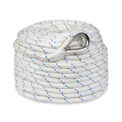 "Premium Double Braided Nylon Anchor Rope w/ Thimble 1/2"" x 100'"