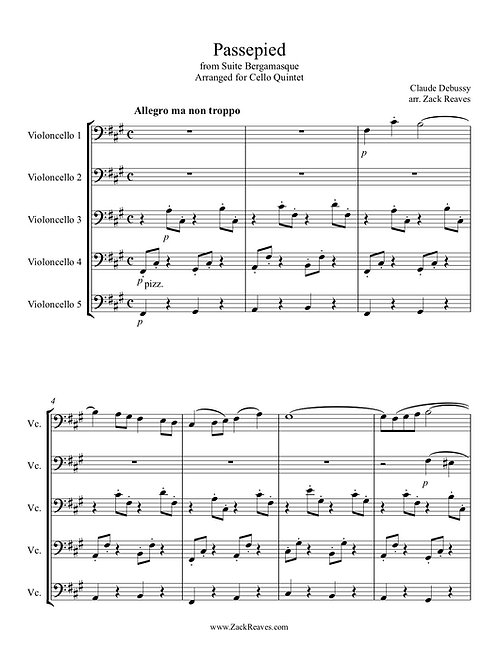 """Debussy - """"Passepied"""" from Suite Bergamasque - Arranged for Cello Quintet"""