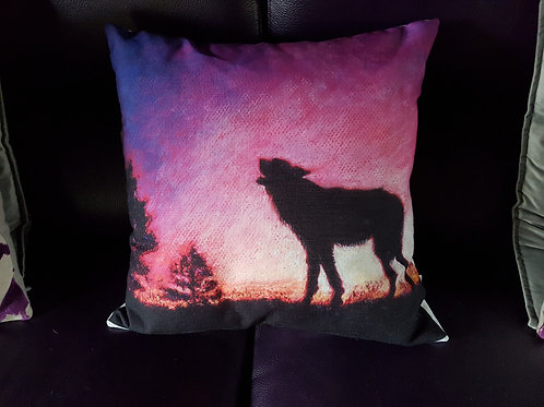Linen Printed 18 Inch Filled Cushion of Calling The Dawn Silhouette by Karenjoy