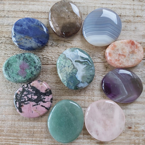 Assorted Palm stones Ideal Size for you to make up your own Crystal Healing Set.