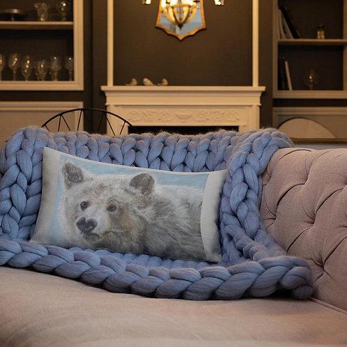 "Linen, Printed 19"" X 13"" Filled Bolster Cushion Matou Bear Totem"
