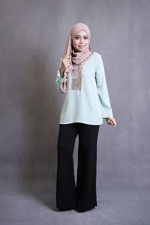 Front Sequin Top - Soft Green