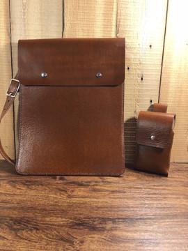 Leather Folder Hand Bag with Cellphone Holder