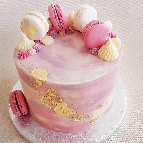 Pink Brushed Macaron Cake