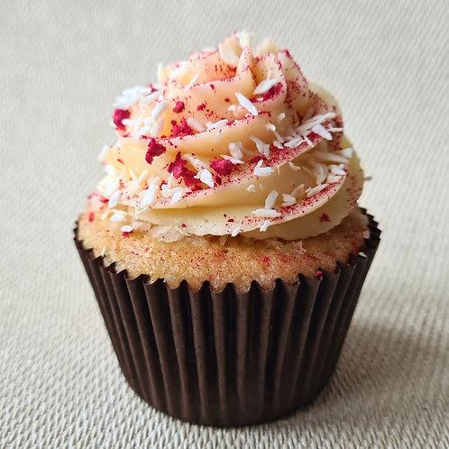 Coconut and Raspberry Cupcake