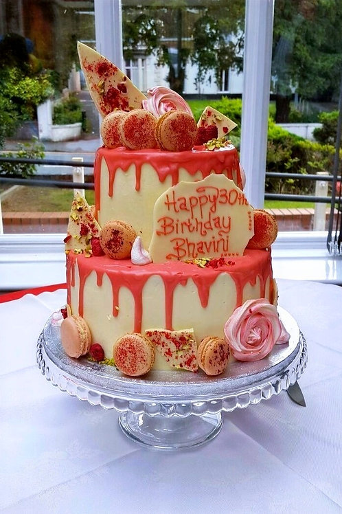 Two Tier White Chocolate, Raspberry and Pistachio Drip Cake