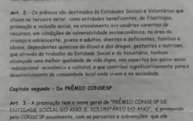 PREMIO CONSESP 2021, Entidade Social e Voluntário do Ano - Regulamento