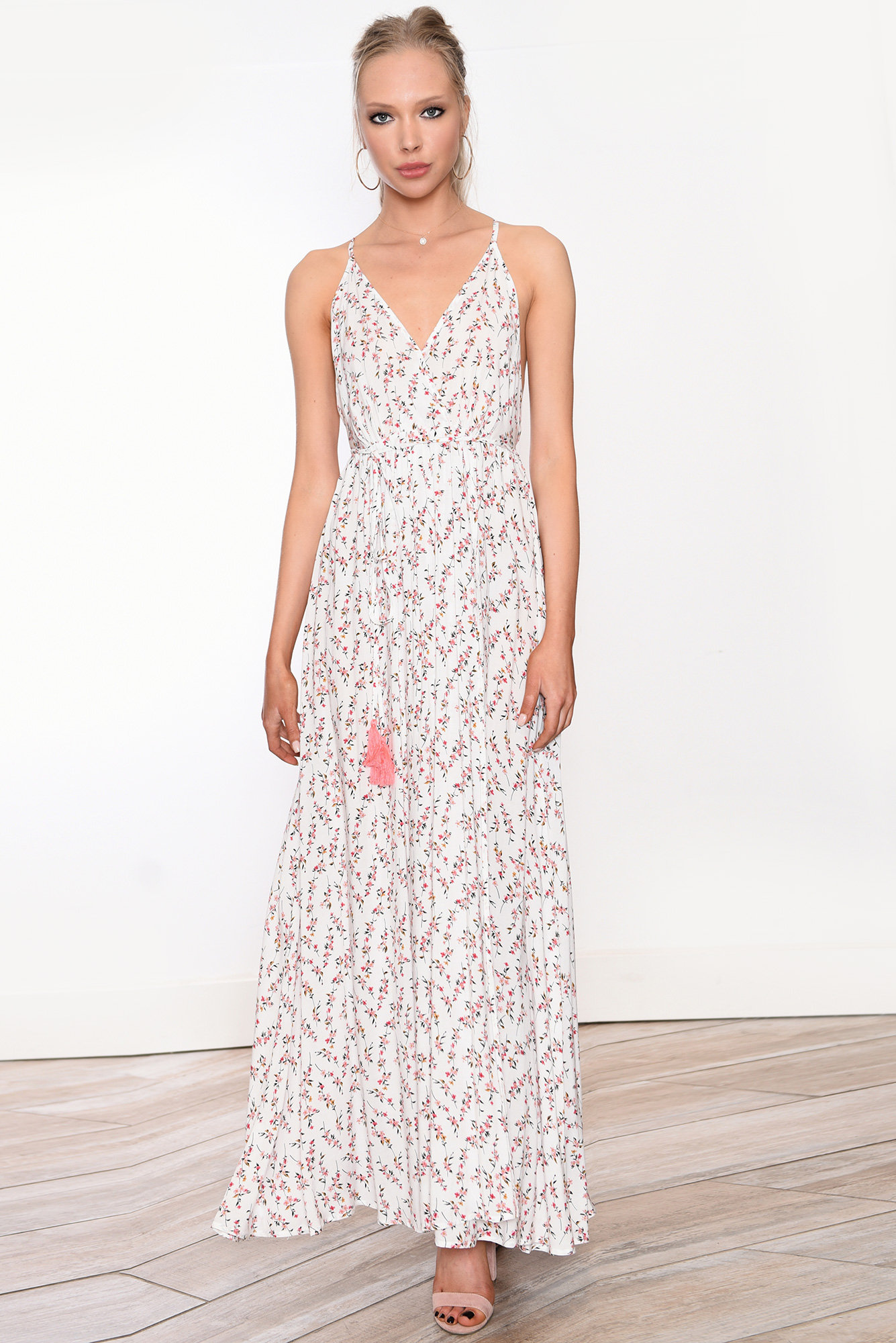 a2c16dada0330 Boho Pink Flower Print Maxi Dress