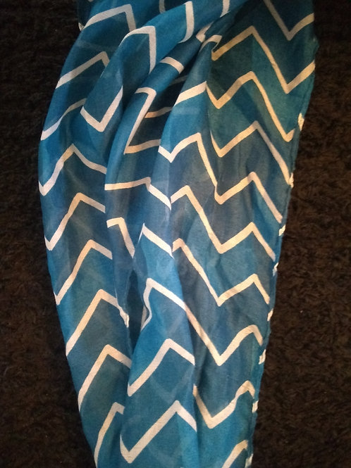 Blue and white v Face mask scarf (63 in. x 13.8 in.)