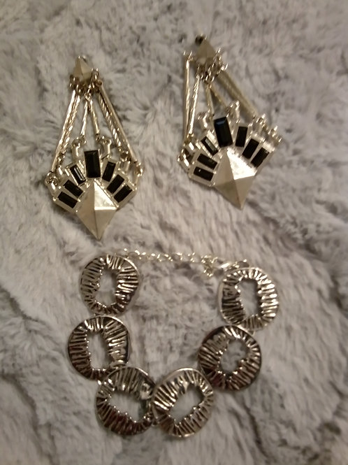 Silver and black bracelet and earrings