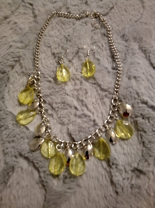 Yellow and silver bracelet and earrings