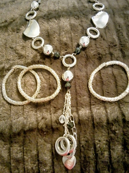 Silver moon necklace and bracelet set