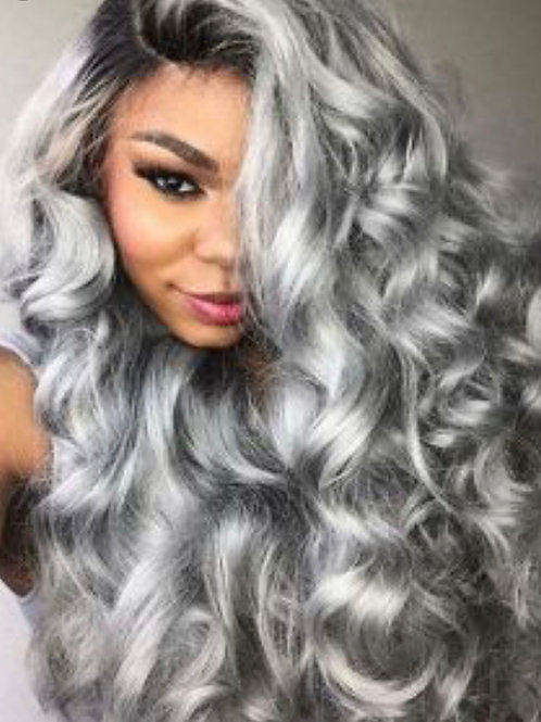Platinum Gray Loose Curly Wig
