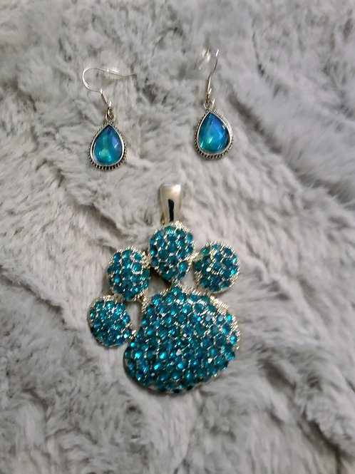 Blue paw earrings and necklace charm
