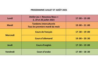 Programme juillet - août 2021