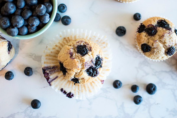 Top view of Blueberry Muffins