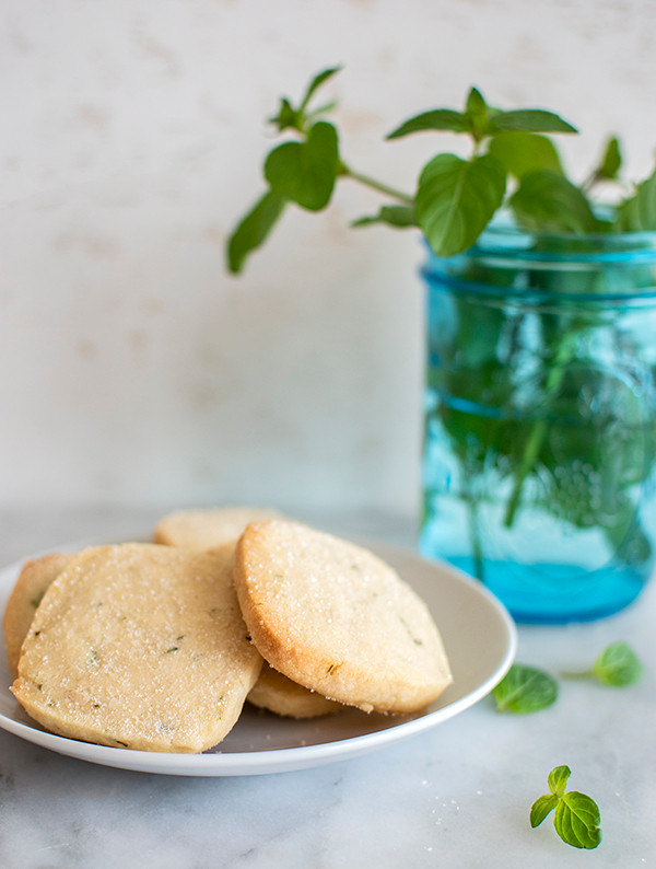Orange Mint Shortbread Cookies served in a plate