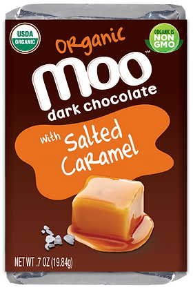Organic Dark Chocolate Salted Caramel Mini Bars, Box/14