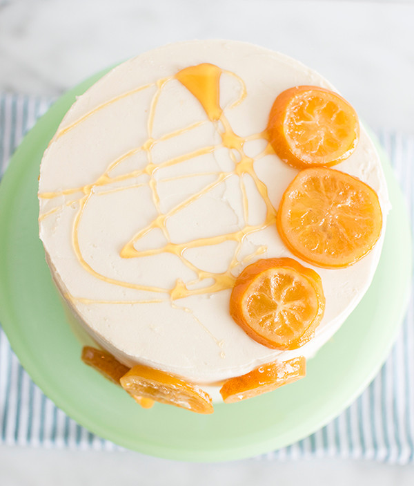 Top view of Honey Lemon Cake With Candied Lemons
