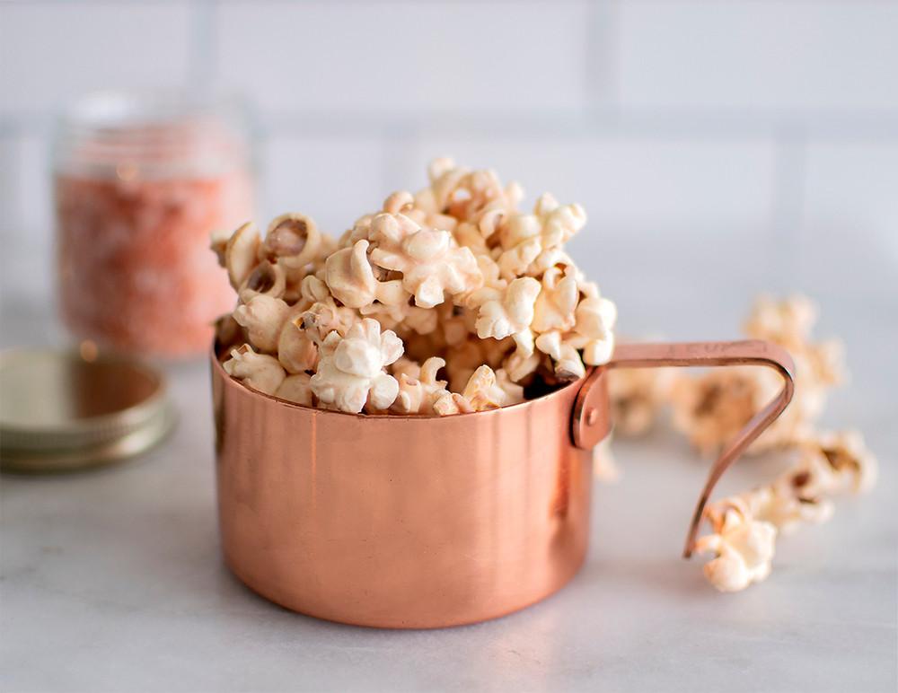 bowl full of Pink Himalayan Sea Salt White Chocolate Popcorn