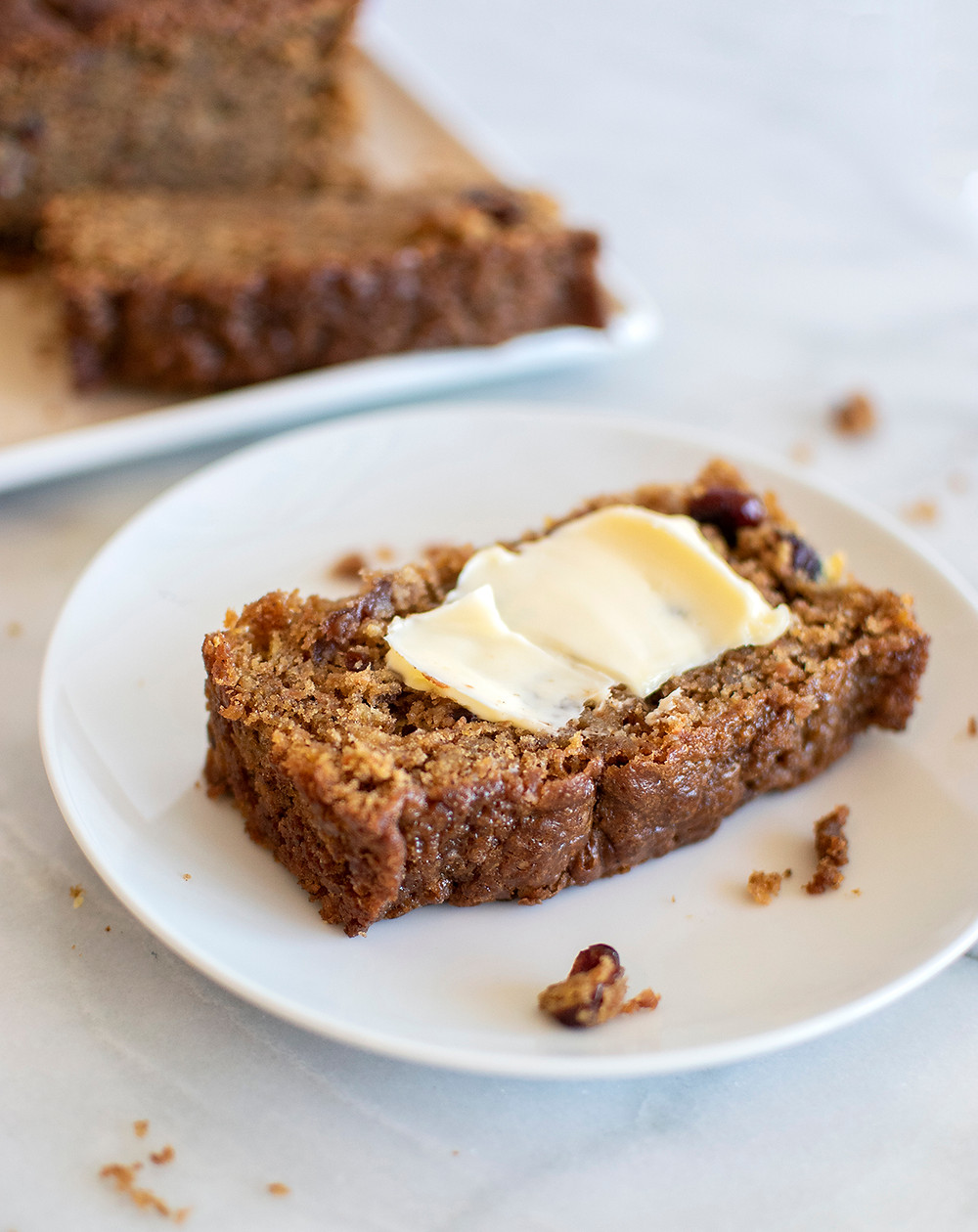 Spiced Cranberry Carrot Bread served in a plate