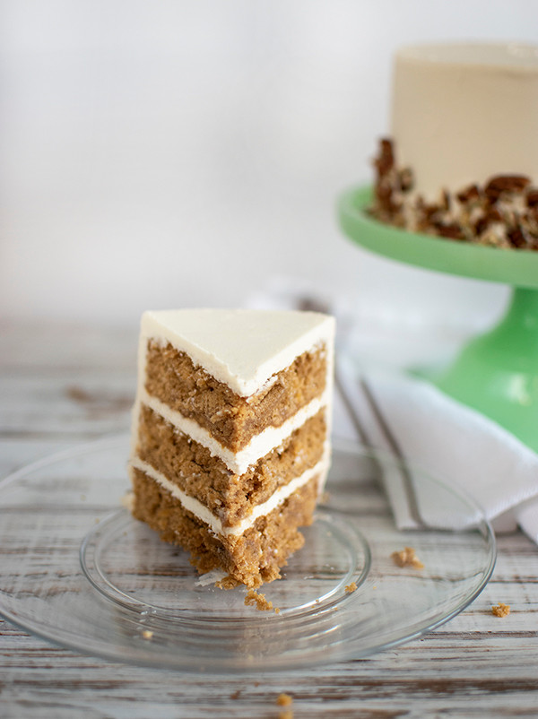 A piece of Hummingbird Cake served in a plate