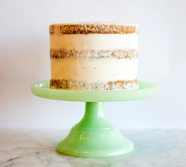 making of Caramel Pecan Pumpkin Spice Naked Cake