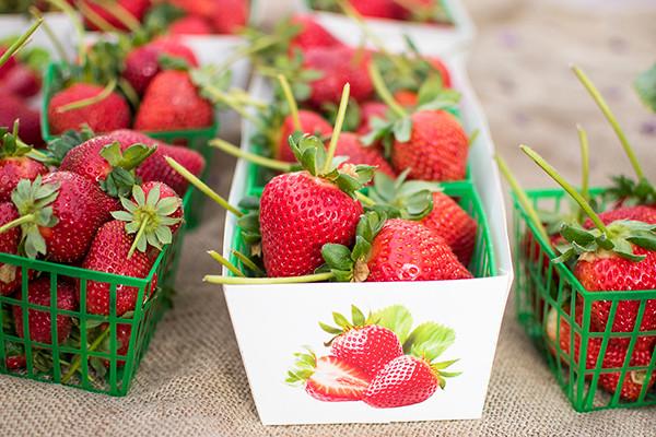 Pack full of fresh red strawberries
