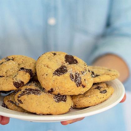 plate full of Vegan Sea Salt Dark Chocolate Chunk Cookies