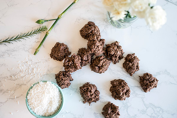 Top view of Coconut Almond Chocolate Clusters