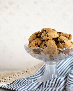 Mini chocolate chip cookies in a serving dish