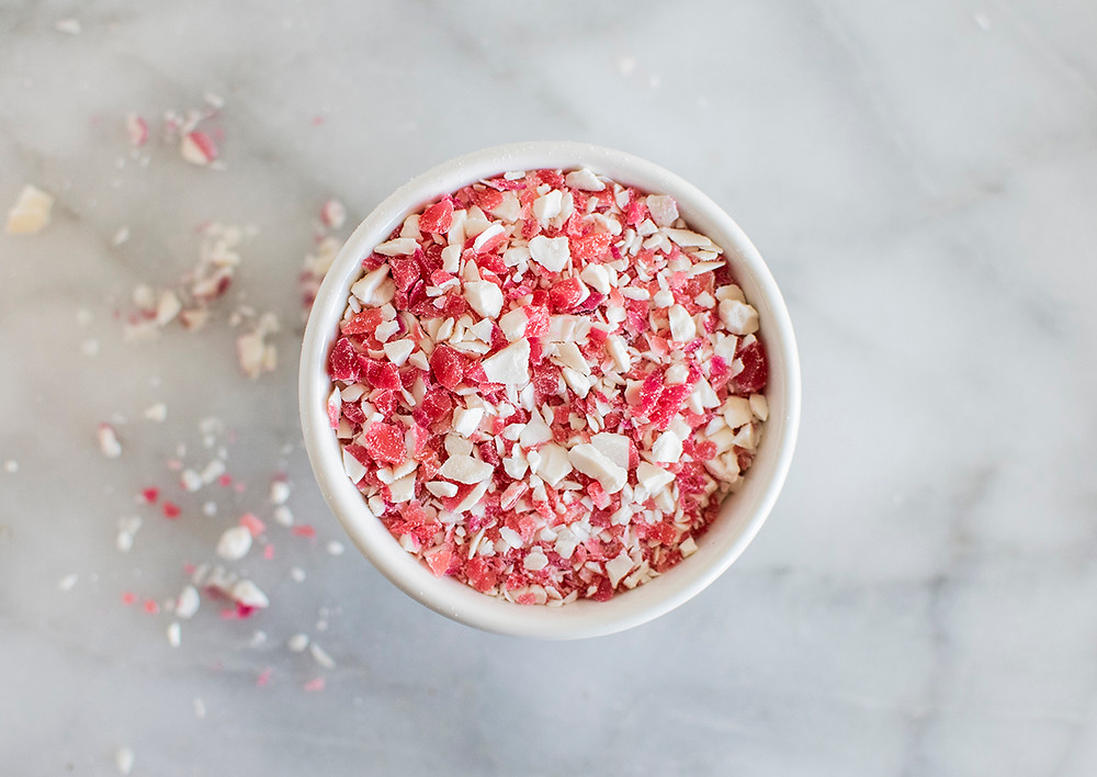 Sprinkle made from pieces of sweet candy canes