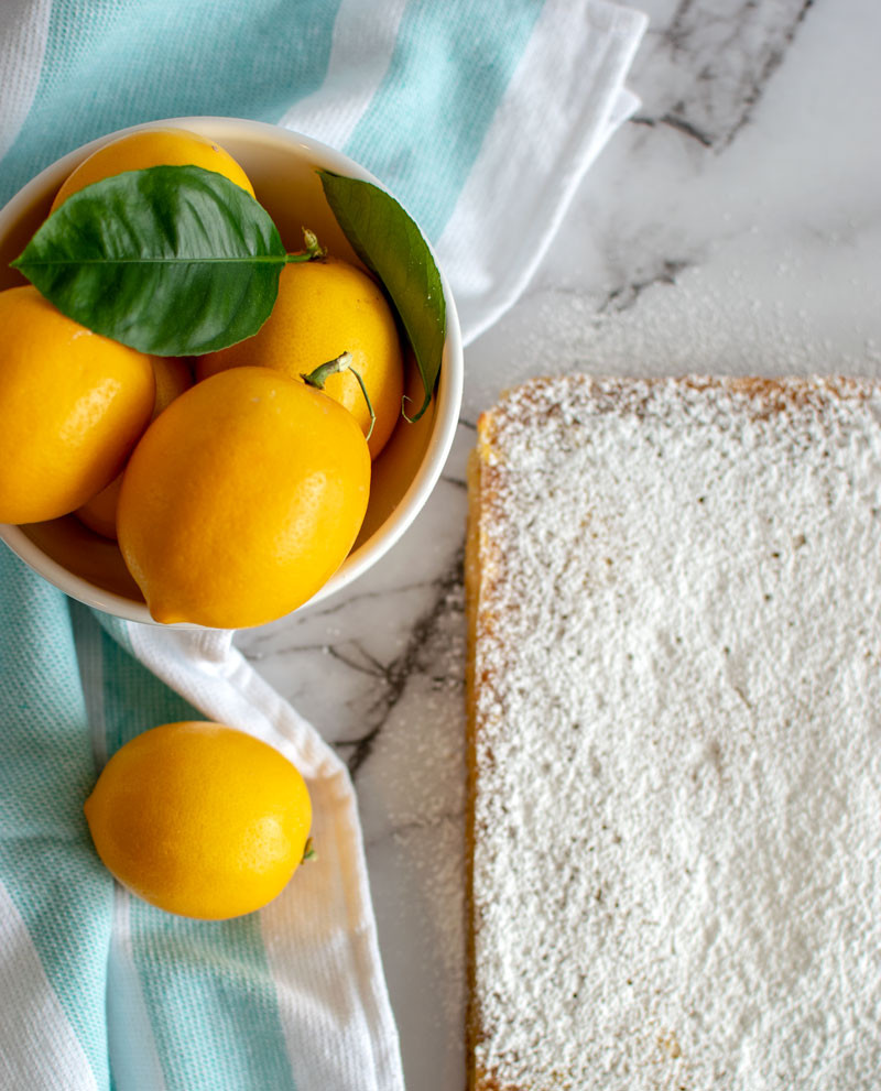 Easy and healthy homemade lemon bar recipe, meyer lemons, lemon bars, gluten free lemon bars, high altitude lemon bars #lemonbars #lemons #meyerlemons #glutenfree