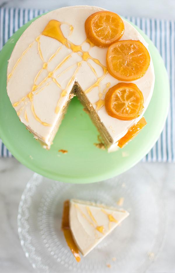 sliced Honey Lemon Cake With Candied Lemons