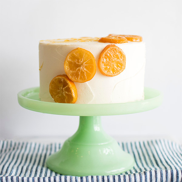 Honey Lemon Cake With Candied Lemons on cake stand