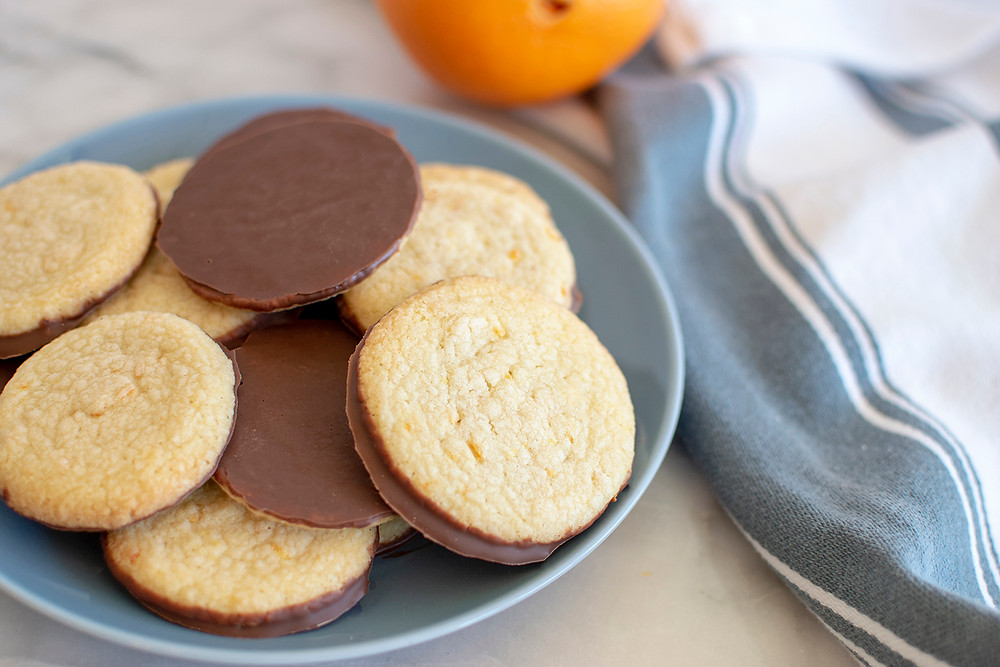 plate full of Milk Chocolate Orange Shortbread Cookies