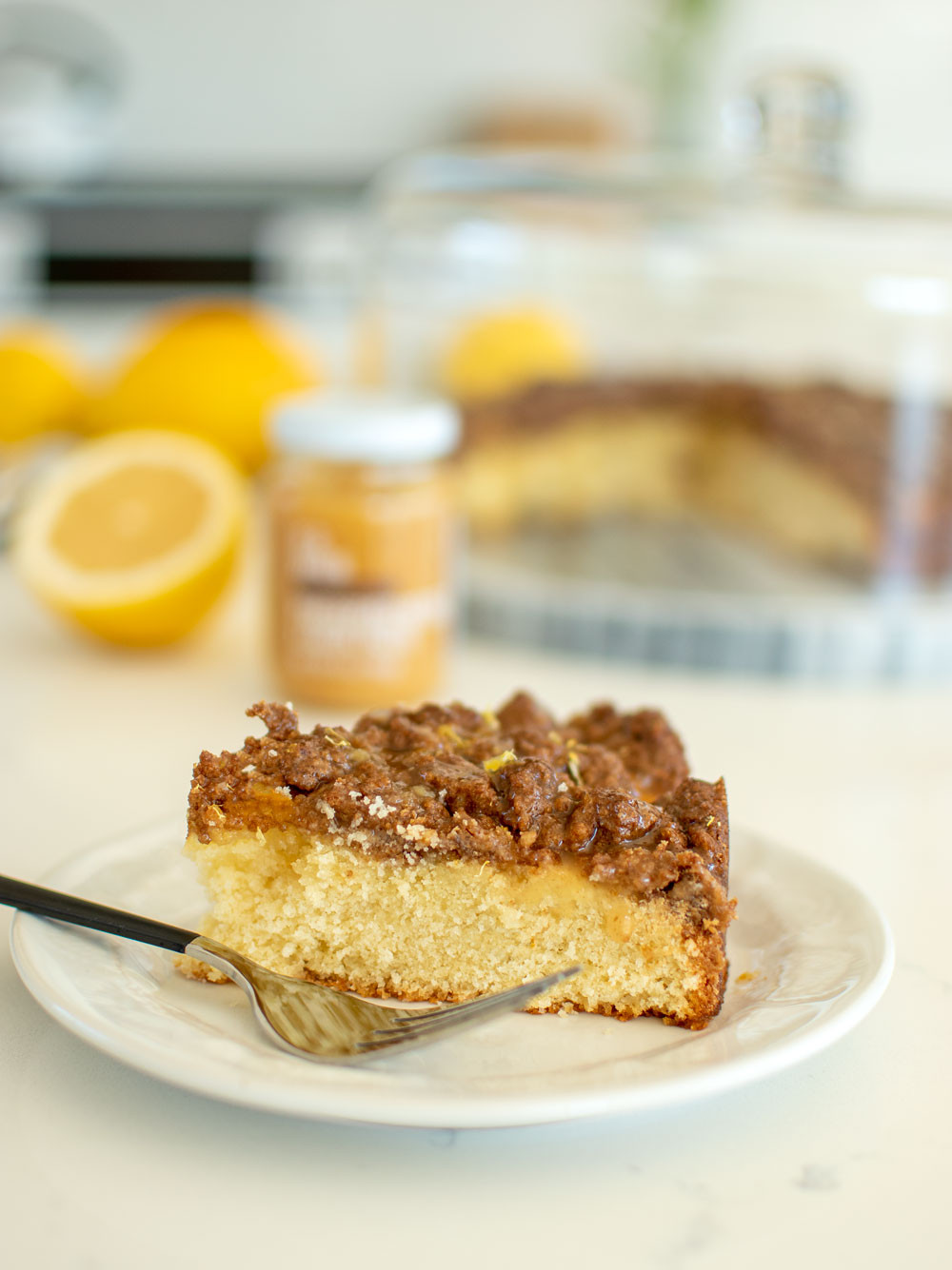 Easy Lemon Coffee Cake recipe for Christmas! This light and delicious Lemon Coffee Cake recipe uses If & When lemon paste for a true lemon flavor. This cake can easily be baked at high altitude and also gluten free using my simple adjustments #coffeecake #cake #organic #organiccake #organiccoffeecake #lemoncake #lemonpaste #highaltitudebaking