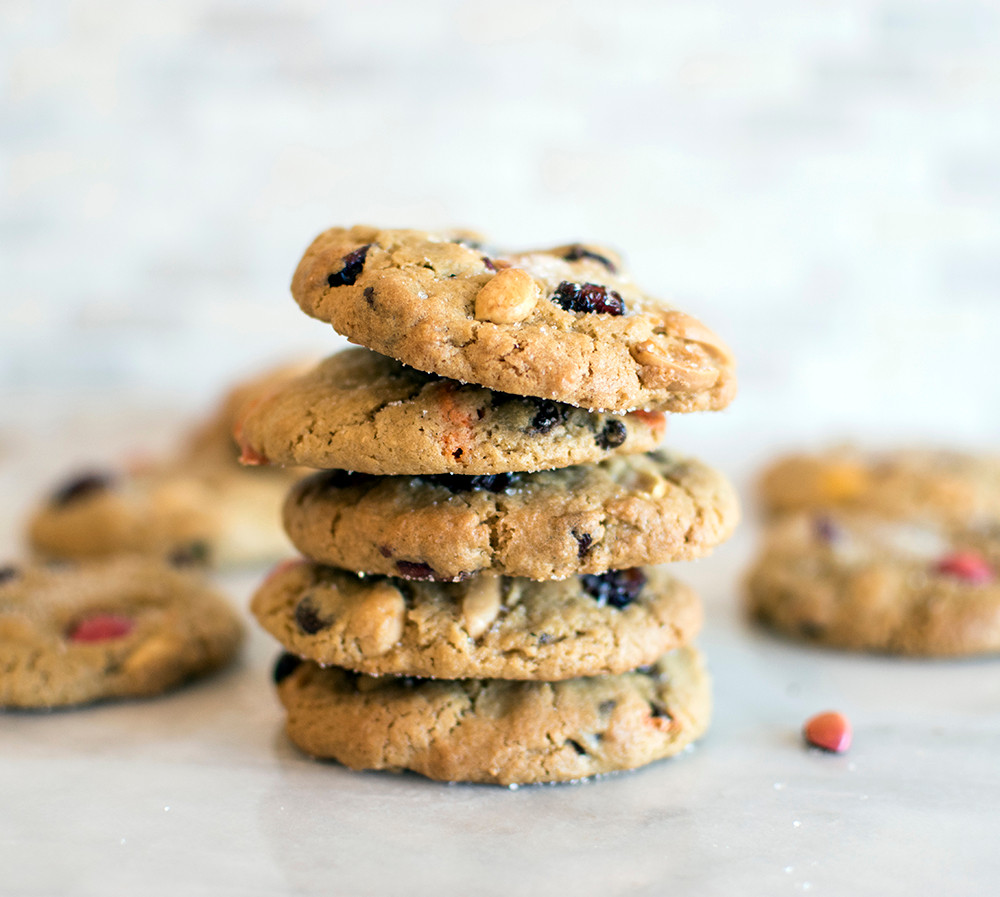 tower of Trail Mix Cookies